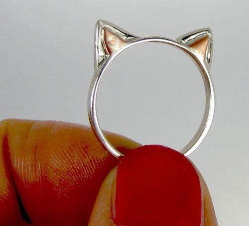 एक स्टर्लिंग चांदी किटी बिल्ली कान अंगूठी जीतें